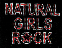 Natural Girls Rock Red Text Afro Rhinestone Transfer Iron on