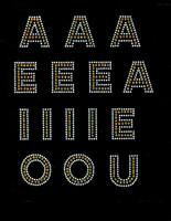 "1.5"" VOWELS Bold Letter Alphabet Arial Font TOPAZ GOLDEN (15 letters) Rhinestone Transfer"