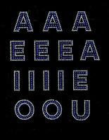"1.5"" VOWELS Bold Letter Alphabet Arial Font COBALT BLUE (15 letters) Rhinestone Transfer"
