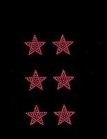 "(Set of 6) 1.5"" Star (FUCHSIA Hot Pink) Rhinestone Transfer"