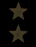 """(Set of 2) 4"""" Star (GOLDEN TOPAZ) Rhinestone Transfer"""