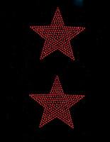 "(Set of 2) 4"" Star (RED) Rhinestone Transfer"
