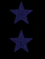 "(Set of 2) 4"" Star (COBALT BLUE) Rhinestone Transfer"