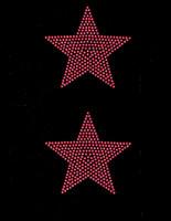 "(Set of 2) 5"" Star (FUCHSIA Hot Pink) Rhinestone Transfer"