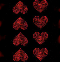 "(Set of 8) 2"" Heart (Red) Rhinestone Transfer Iron on"