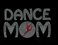 Dance Mom Girl inside O Fuchsia Pink Rhinestone Transfer Iron On