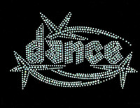 Dance Techno shooting star Clear Rhinestone Transfer Iron on