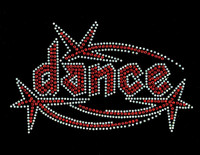 Dance Techno shooting star RED Rhinestone Transfer