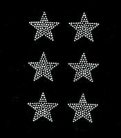 "(Set of 6) 2"" Star (CLEAR) Rhinestone Transfer Iron on"