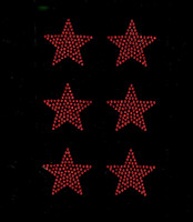 "(Set of 6) 2"" Star (RED) Rhinestone Transfer Iron on"