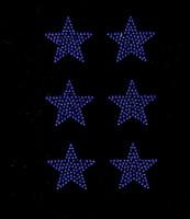 "(Set of 6) 2"" Star (Cobalt Blue) Rhinestone Transfer Iron on"
