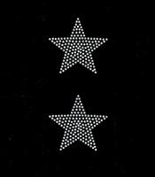 "(Set of 2) 3"" Star (CLEAR) Rhinestone Transfer Iron on"
