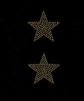 """(Set of 2) 3"""" Star (Golden TOPAZ) Rhinestone Transfer"""