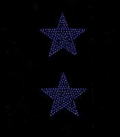 "(Set of 2) 3"" Star (COBALT Blue) Rhinestone Transfer"