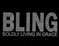 Bling Boldly Living in Grace (Bold Text) Rhinestone Transfer