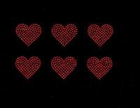 "2"" Heart (6 Hearts) Red Rhinestone Transfer Iron on"