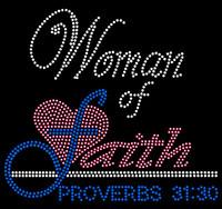 (Fuchsia Cobalt blue) Woman of Faith Proverbs 31:30 Religious Rhinestone Transfer