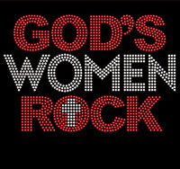 God's Women Rock (Red Clear) Rhinestone Transfer