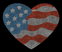 USA Heart waves 4th of July Rhinestone Transfer