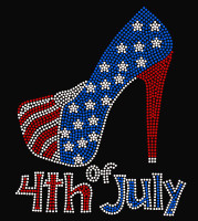 USA Heel Stiletto 4th of July Rhinestone Transfer Iron on