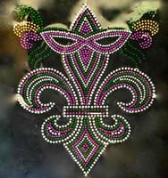 Mardi Gra Mask Fleur De Lis FDL Purple Rhinestone Transfer