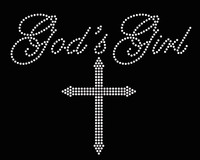 God's Girl with Cross Religious Rhinestone Transfer