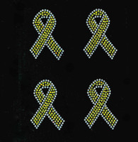 "(Set of 4) 3"" Citrine Yellow Breast Cancer Ribbon Awareness clear outline Rhinestone Transfer"