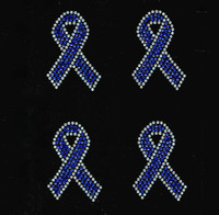 "(Set of 4) 3"" Blue Breast Cancer Ribbon Awareness clear outline Rhinestone Transfer"