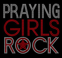 Praying Girls Rock Red Religious Rhinestone Transfer