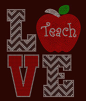 Love Apple Teach Chevron School Rhinestone Transfer
