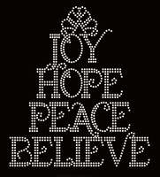 Joy Hope Peace Believe Religious Rhinestone Transfer