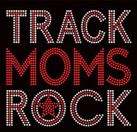 Track Moms Rock text Rhinestone Transfer