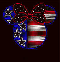 USA Micky 4th of July Rhinestone Transfer Iron on