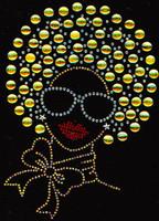 Afro Girl Golden Rhinestone Transfer
