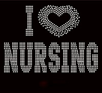 I Love Nursing Heart Rhinestone transfer iron on