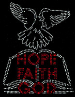 Hope Faith God Bible Bird Religious Rhinestone Transfer