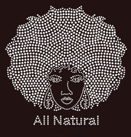 All Natural Afro Girl Rhinestone Transfer Iron On - DIY
