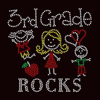3rd Grade rocks (4 colors) Kids School Rhinestone Transfer