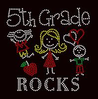5th Grade Rocks (4 colors) Kids School Rhinestone Transfer