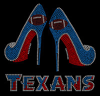 Texans Football 2 Heels Stiletto Rhinestone Transfer Iron on