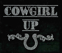 (Text) Cowgirl Up clear with horse shoe Rhinestone Transfer