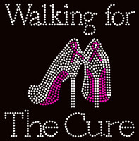 (Fuchsia) Walking for the Cure Heels Stiletto Cancer Ribbon Awareness Rhinestone Transfer