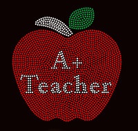 A+ Teacher Apple School Rhinestone transfer iron on