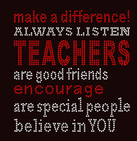 Teachers make a difference School Rhinestone transfer iron on