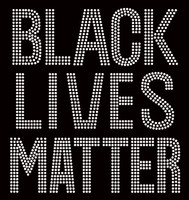 Black Lives Matter (Large) Bold Text Afro Rhinestone Transfer