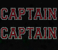 (Set of 2) CAPTAIN text Rhinestone Transfer