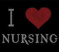 I Love Nursing Red Heart Rhinestone transfer
