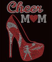 Cheer Mom Heel Red Rhinestone Transfer