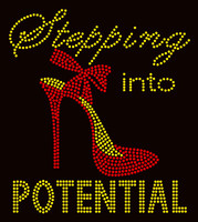 Stepping into Potential Slim Heel Stiletto Golden Rhinestone Transfer