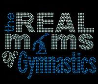 Real moms of Gymnastics Blue Rhinestone Transfer Iron on